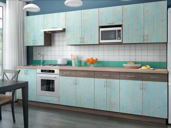 Голубая кухня из ДСП Тасмания