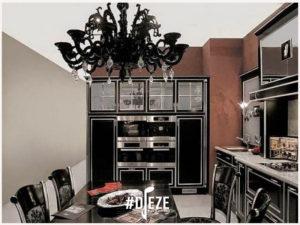 Черная глянцевая кухня в стиле Арт Деко