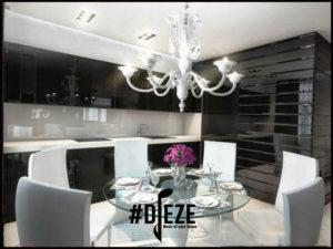 чорно белая кухня в стиле арт деко