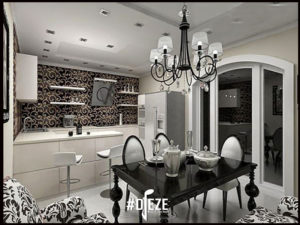 Сочетание черных и белых цветов в интерьере кухни