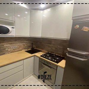 Кухня серый глянец интегрированная ручка