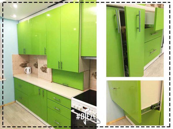 Кухня ярко зеленая