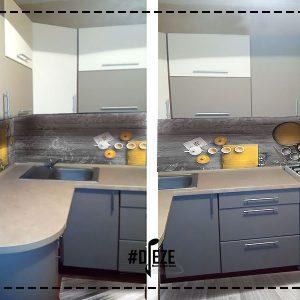 Кухня серая со скинали