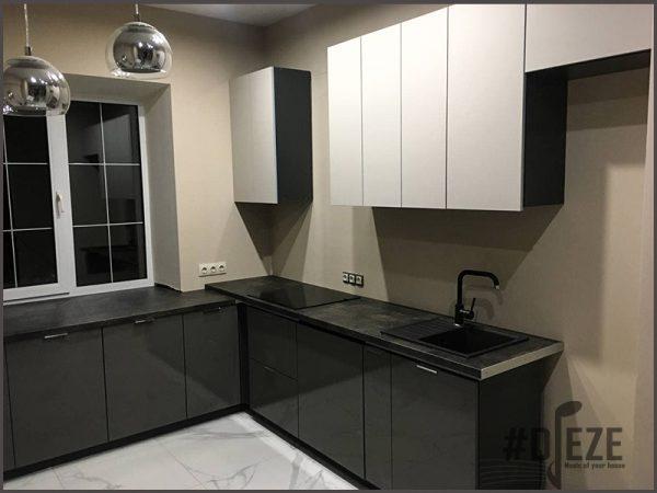 Серо-белая кухня акрил