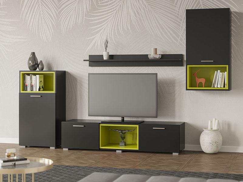 Купить гостиную Монтана Свит меблив. Серый компелкт мебели из четырех предметов с яркими зелеными вставками на открытых полках