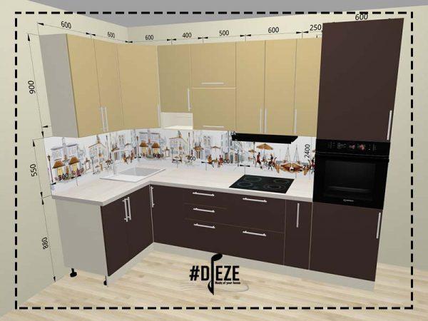 Проект кухни, 3Д визуализация по котрой изготавливается кухня