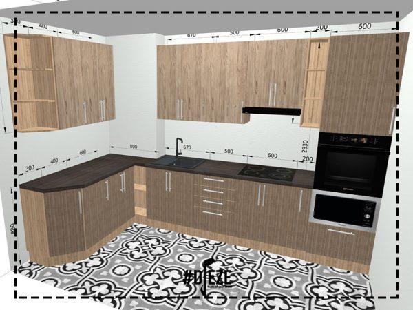 Визуализация кухни с ДСП фасадами