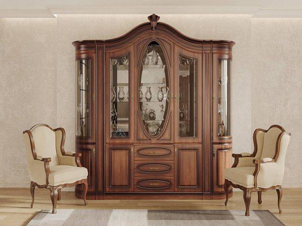 Гостиная Цезарь 3 классическая гостиная, буфет с красиво фрезеровкой и витражными стелами