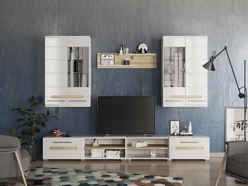 Гостиная Бянко, модульная, ТВ тумба и два навесных шкафа со стеклом, белый корпус, белые гляцевые фасады и вставки под дерево
