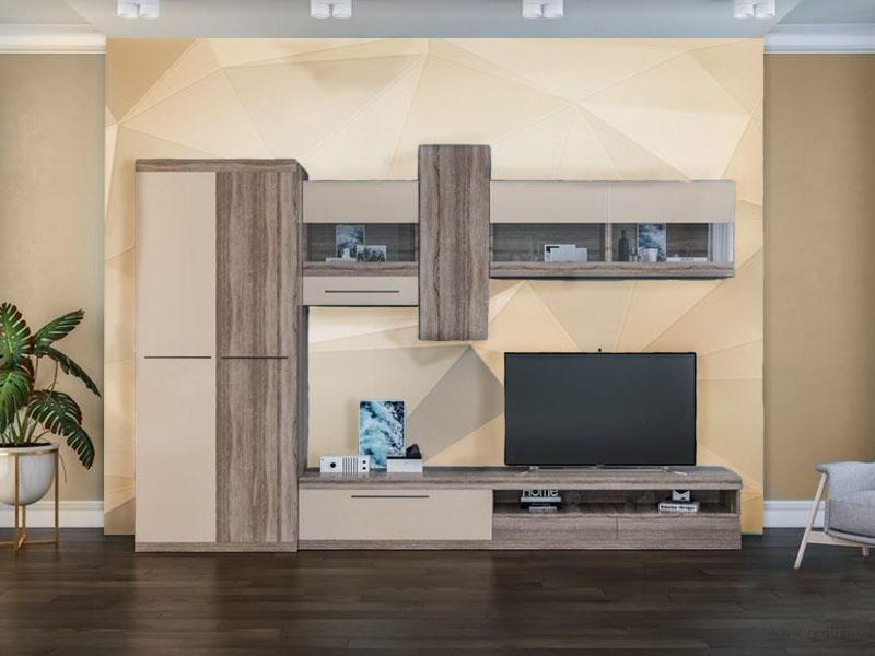 Гостиная Толедо. Шкаф, тумба для ТВ, три навесных модуля (оин закрытый и два со стеклом). Цвет персиковый и дуб трюфель